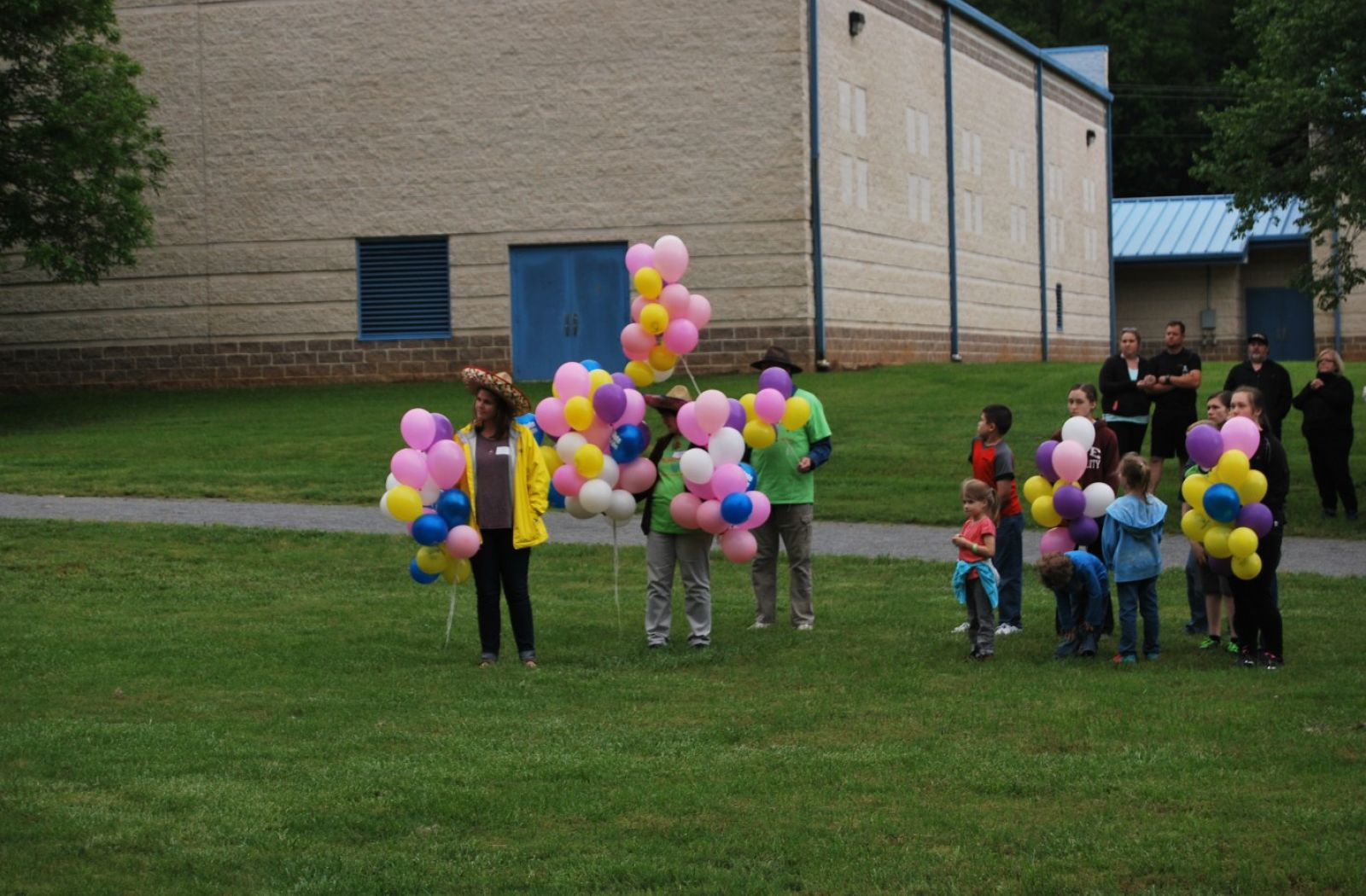 Preparing for our balloon release.